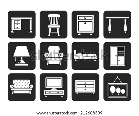 Silhouette Home Equipment and Furniture icons - vector icon set - stock vector