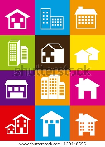 silhouette houses over colorful squares. vector illustration - stock vector