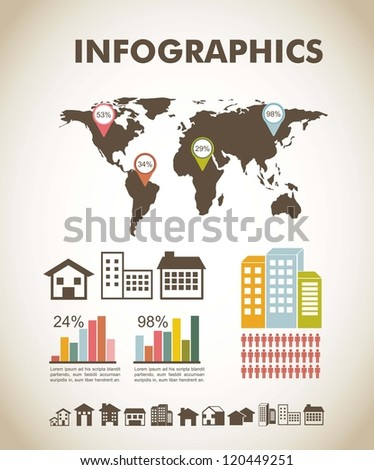 silhouette houses over vintage background, infographics. vector - stock vector