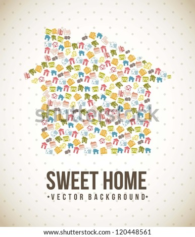 silhouette houses over vintage background. vector illustration - stock vector
