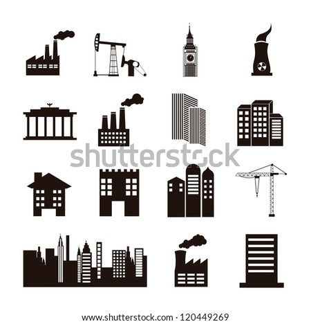 silhouette houses over white background. vector illustration - stock vector