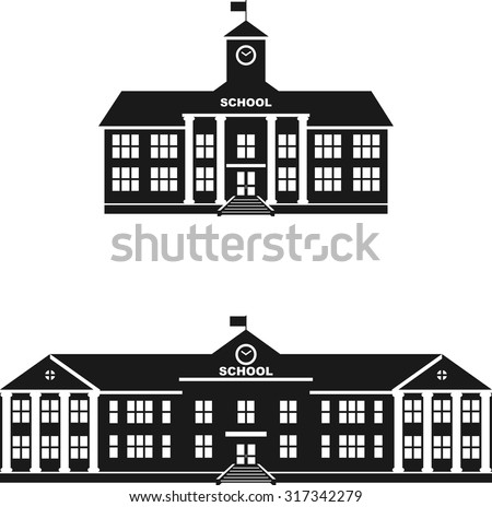 Silhouette illustration different variants of classical school building in a flat style. - stock vector