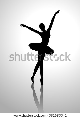 Silhouette illustration of a ballerina - stock vector