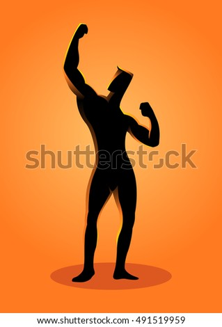 Silhouette illustration of a bodybuilder pose