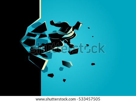 Silhouette illustration of a businessman breaking the wall. Business, breakthrough, success, challenge concept