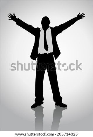 Silhouette illustration of a businessman standing with open arms - stock vector