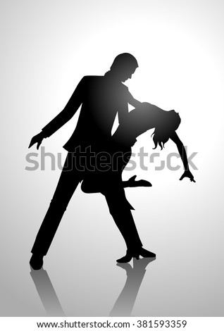 Silhouette illustration of a couple dancing - stock vector