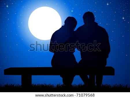 Silhouette illustration of a couple sitting on a bench - stock vector
