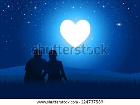 Silhouette illustration of a couple sitting on grass watching the glowing heart - stock vector