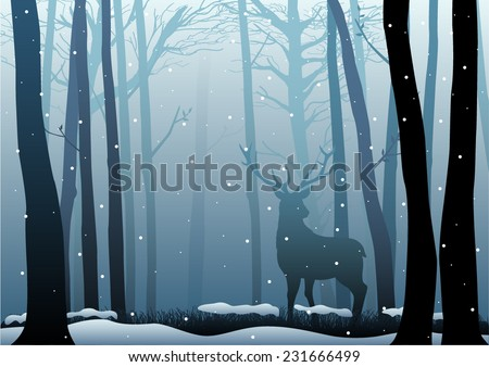 Silhouette illustration of a deer in the woods - stock vector