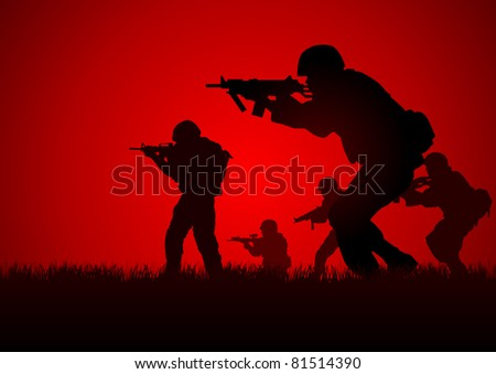 Silhouette illustration of a group of soldiers in assault formation - stock vector