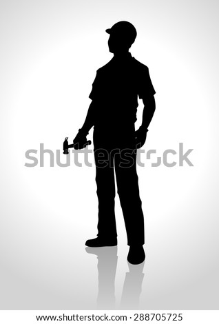 Silhouette illustration of a handyman holding a hammer - stock vector
