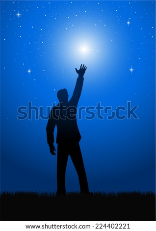 Silhouette illustration of a male figure reaching out for the star - stock vector