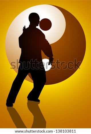 Silhouette illustration of a man figure doing taichi with Yin Yang symbol as the background - stock vector