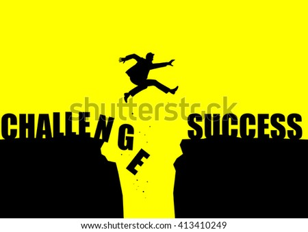 Silhouette illustration of a man jumping over a ravine. - stock vector