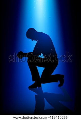 Silhouette illustration of a man praying under peaceful blue light