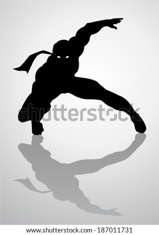 Silhouette illustration of a masked superhero - stock vector