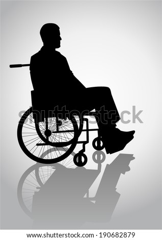 Silhouette illustration of a person on a wheelchair - stock vector