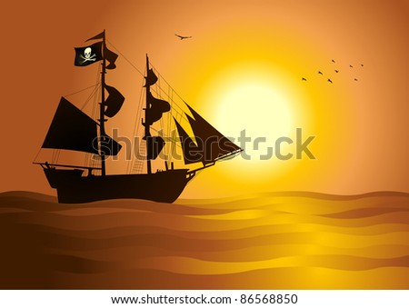 Silhouette  illustration of a pirate ship - stock vector