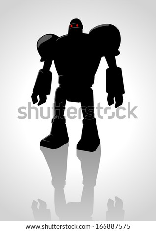 Silhouette illustration of a robot - stock vector