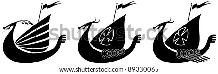 Silhouette illustration of a viking ship - stock vector
