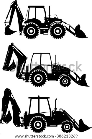 Silhouette illustration of backhoe loaders, heavy equipment and machinery on white background. - stock vector