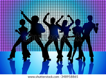 Silhouette Illustration of couples dancing on the floor in the 70s - stock vector