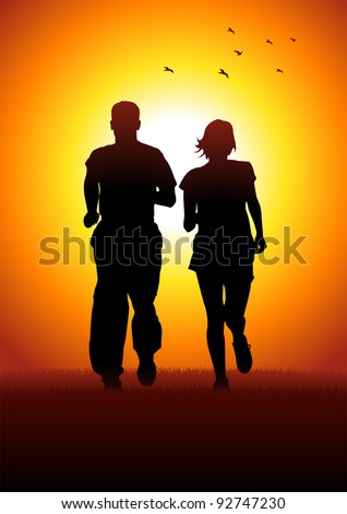 Silhouette illustration of couples jogging in the morning - stock vector
