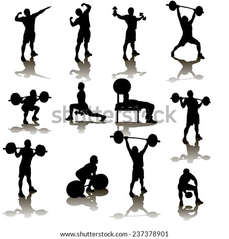 silhouette illustration of deifferent male atheletes wivh are working out - stock vector
