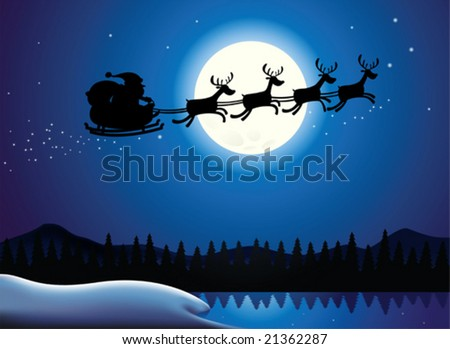 Silhouette Illustration of Flying Santa and Christmas Reindeer - stock vector
