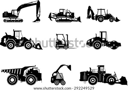 Silhouette illustration of heavy equipment and machinery - stock vector
