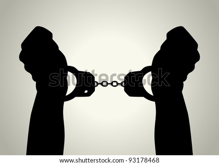 Silhouette illustration of human hands handcuffed - stock vector