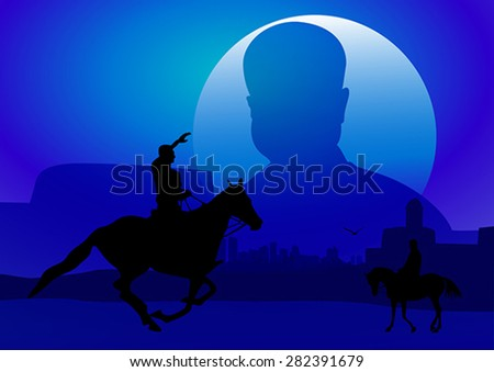 Silhouette illustration of riding a horse during sunset - stock vector