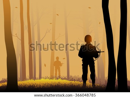 Silhouette illustration of soldiers in the dark woods - stock vector