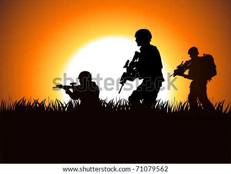Silhouette illustration of soldiers on the field - stock vector
