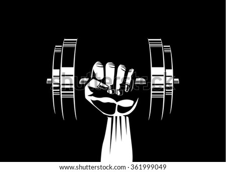 Silhouette illustration of strong hand lifting up steel dumbbell on black background - stock vector