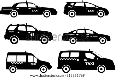 Silhouette illustration of taxi cars isolated on white background - stock vector
