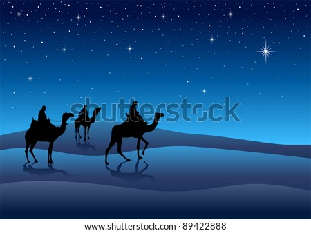 Silhouette illustration of Three Kings from the East - stock vector