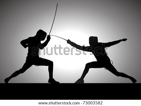 Silhouette illustration of two fencer - stock vector