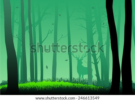 Silhouette illustration of woods  - stock vector