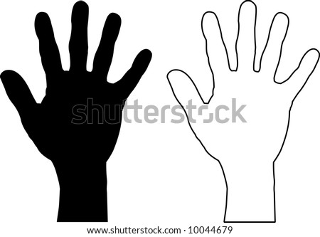 Silhouette illustrations of a hand in both black and white.