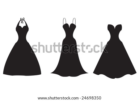 Silhouette illustrations of three formal dresses. Use as is or easily customize with your own colors or patterns. - stock vector