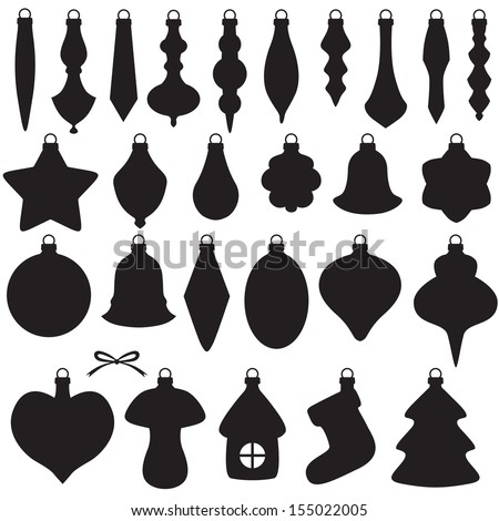 Silhouette image of Christmas baubles set - stock vector