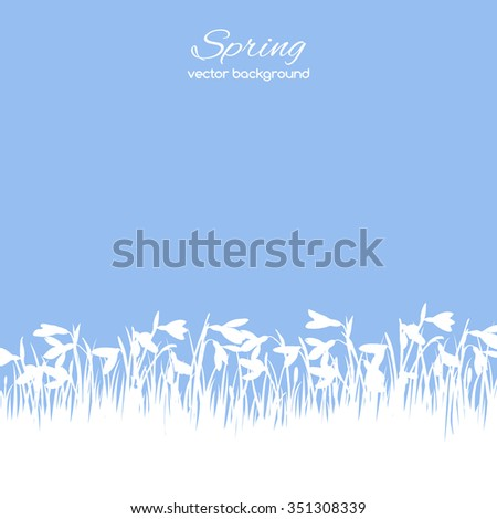 Silhouette image spring snowdrops flowers on the blue background  - stock vector