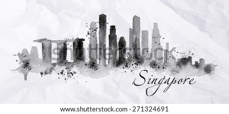 Silhouette ink Singapore city painted with splashes of ink drops streaks landmarks drawing in black ink on crumpled paper. - stock vector