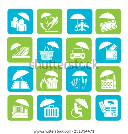 Silhouette insurance, risk and business icons - vector icon set - stock vector