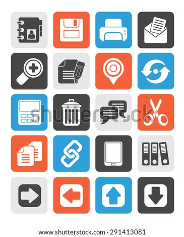 Silhouette internet Interface Icons -  vector icon set - stock vector