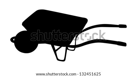 silhouette isolated illustration of wheelbarrow - stock vector