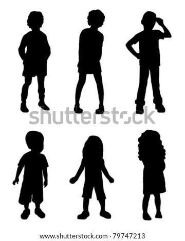 Silhouette Kids - stock vector