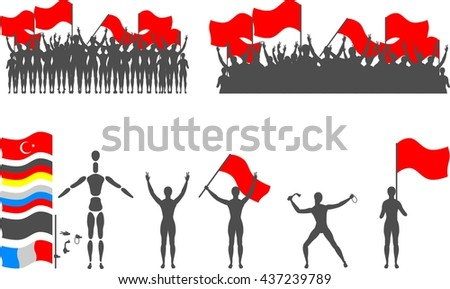 Silhouette kit - creating info-graphics for protests, demonstrations and parades. Includes flags of Turkey, France, Russia and Germany